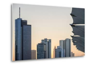 Germany, Hesse, Frankfurt Am Main, Frankfurt, Financial District, Sundown-Bernd Wittelsbach-Metal Print