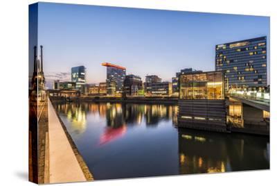 D?sseldorf, North Rhine-Westphalia, Germany, Media Harbour Office Building at Dusk-Bernd Wittelsbach-Stretched Canvas Print