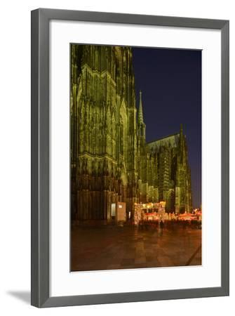 Germany, North Rhine-Westphalia, Cologne, Place Roncalli, Christmas Fair and Cologne Cathedral-Andreas Keil-Framed Photographic Print
