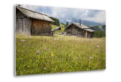 Alpine Huts at the Plateau of the Pralongia, St. Kassian, Val Badia, South Tyrol, Italy, Europe-Gerhard Wild-Metal Print