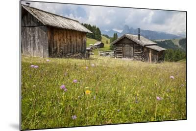 Alpine Huts at the Plateau of the Pralongia, St. Kassian, Val Badia, South Tyrol, Italy, Europe-Gerhard Wild-Mounted Photographic Print