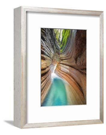 Rock Formation at Tauglbach, Waterfall, Salzburg, Austria-Dieter Meyrl-Framed Photographic Print