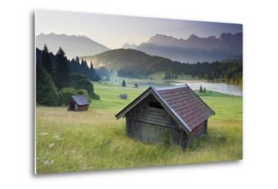 Germany, Bavaria, Lake Geroldsee, Northern Karwendel Range, Huts-Rainer Mirau-Metal Print
