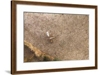 Aerial View of Farmer Working on a Field in Bagan, Myanmar-Harry Marx-Framed Photographic Print