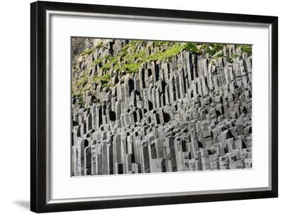 At the Black Sandy Beach of Reynisfjara, Basalt Colums-Catharina Lux-Framed Photographic Print