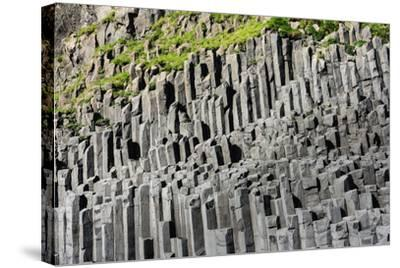 At the Black Sandy Beach of Reynisfjara, Basalt Colums-Catharina Lux-Stretched Canvas Print