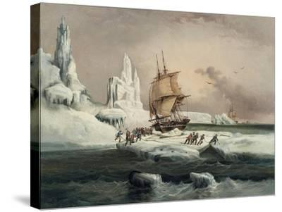 L'Astrolabe Caught in an Ice Pack, 9 February, 1838-Auguste Etienne Francois Mayer-Stretched Canvas Print