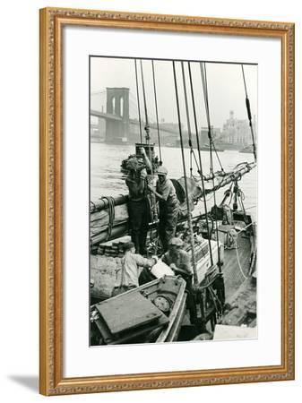 Cleaning Out the Old Ice at Fulton Fish Market-P.L. Sperr-Framed Photographic Print