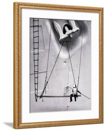 Painting the Side of the Ship-J.N. Levenson-Framed Photographic Print