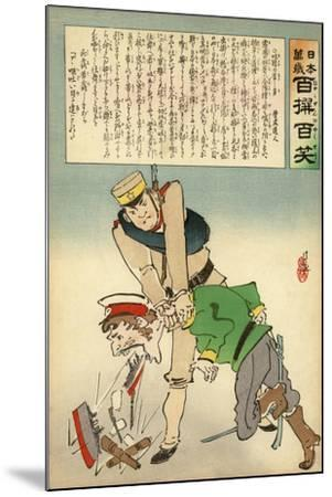 Japan Forcing Russia to Disgorge Her Brave Threats-Kobayashi Kiyochika-Mounted Giclee Print