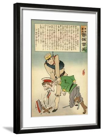Japan Forcing Russia to Disgorge Her Brave Threats-Kobayashi Kiyochika-Framed Giclee Print