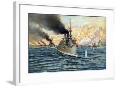 U.S. Navy - Naval Battle of Manila - May 1st, 1898-Werner-Framed Giclee Print