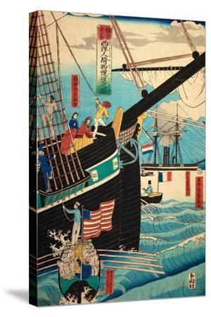 European Ship in Japanese Harbor, Circa 1860, Number 3-Sadi Radi-Stretched Canvas Print