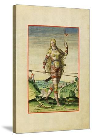 Illustration of Feminae Pictea from Theodor Debry's Narratio Virginiae, 1590-Theodor de Bry-Stretched Canvas Print