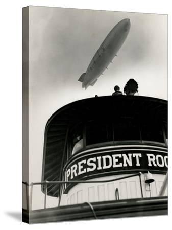 Airship Akron over Ferryboat President Roosevelt-P.L. Sperr-Stretched Canvas Print