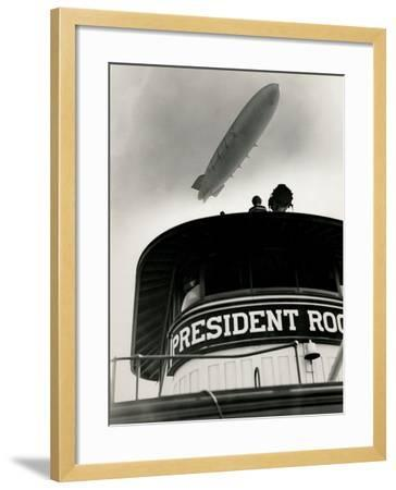 Airship Akron over Ferryboat President Roosevelt-P.L. Sperr-Framed Photographic Print