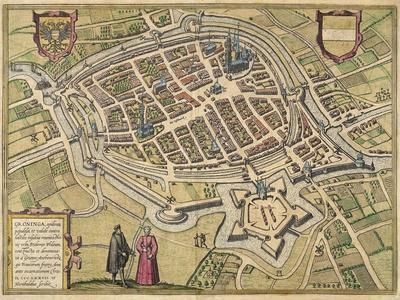 Bird's-Eye View Plan of Groningen 1577- Braun & Hogenberg-Framed Giclee Print