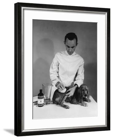 Vet and Dog-Edwin Levick-Framed Photographic Print