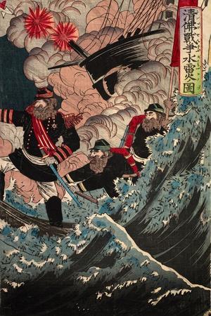 Utagawa, Shin Butsu Senso Suiraika No Duz-Kunimini Utagawa-Framed Giclee Print