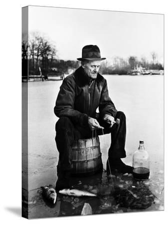 Ice Fishing--Stretched Canvas Print