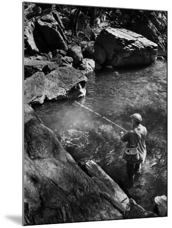 Trout Fishing-A. Aubrey Bodine-Mounted Photographic Print