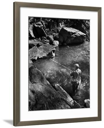 Trout Fishing-A. Aubrey Bodine-Framed Photographic Print