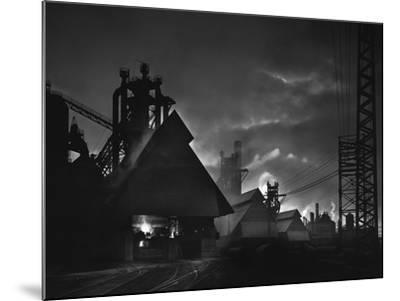 Factory Scene at Dusk, Baltimore, Maryland-A. Aubrey Bodine-Mounted Photographic Print