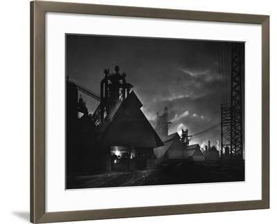 Factory Scene at Dusk, Baltimore, Maryland-A. Aubrey Bodine-Framed Photographic Print