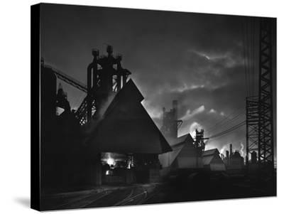 Factory Scene at Dusk, Baltimore, Maryland-A. Aubrey Bodine-Stretched Canvas Print