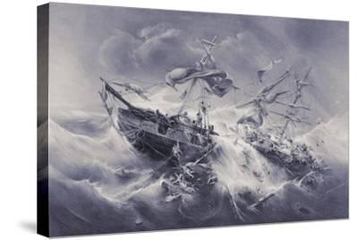 Wreck of the Floridian 1849-Jacob Albrecht Michael Jacobs-Stretched Canvas Print