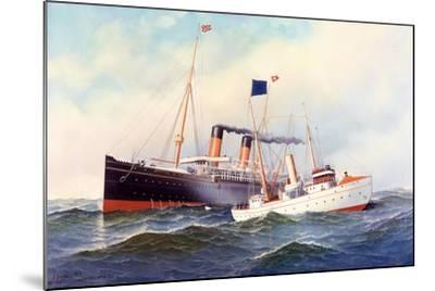 British Ship Majestic with Pilot Boat New York, 1898-Antonio Jacobsen-Mounted Giclee Print
