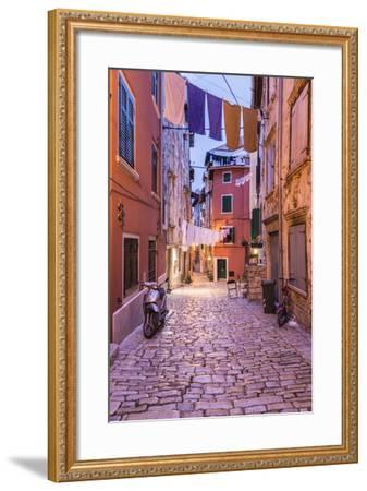 Croatia, Istria, Adriatic Coast, Rovinj, Old Town Lane in the Evening-Udo Siebig-Framed Photographic Print