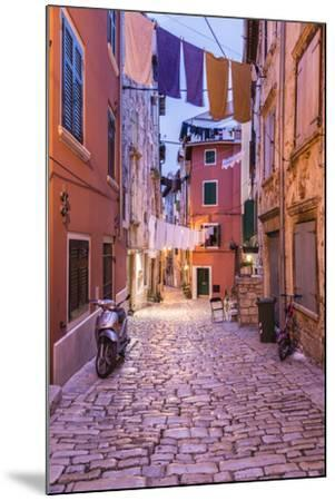 Croatia, Istria, Adriatic Coast, Rovinj, Old Town Lane in the Evening-Udo Siebig-Mounted Photographic Print