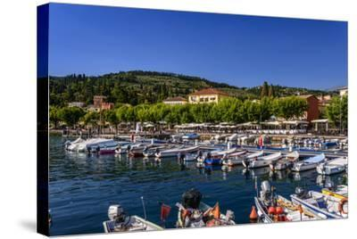 Italy, Veneto, Lake Garda, Garda, Harbour with Lakeside Promenade-Udo Siebig-Stretched Canvas Print