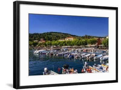Italy, Veneto, Lake Garda, Garda, Harbour with Lakeside Promenade-Udo Siebig-Framed Photographic Print