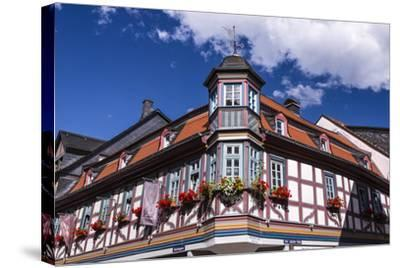 Germany, Hessen, Taunus, German Timber-Frame Road, Idstein, K?nig-Adolf-Platz, Timber-Framed Facade-Udo Siebig-Stretched Canvas Print