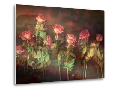 Pink Roses with Textures and Floral Ornaments-Alaya Gadeh-Metal Print