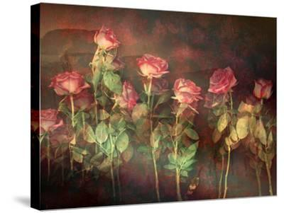 Pink Roses with Textures and Floral Ornaments-Alaya Gadeh-Stretched Canvas Print