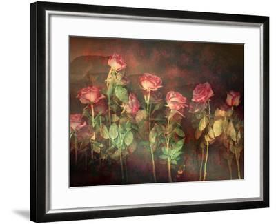 Pink Roses with Textures and Floral Ornaments-Alaya Gadeh-Framed Photographic Print