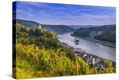 Germany, Rhineland-Palatinate, Upper Middle Rhine Valley, Kaub, Rhine Valley-Udo Siebig-Stretched Canvas Print