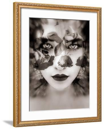 Portrait of a Woman with Roses in Sepia Monotonous Shades, Composing-Alaya Gadeh-Framed Photographic Print