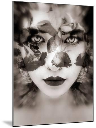 Portrait of a Woman with Roses in Sepia Monotonous Shades, Composing-Alaya Gadeh-Mounted Photographic Print