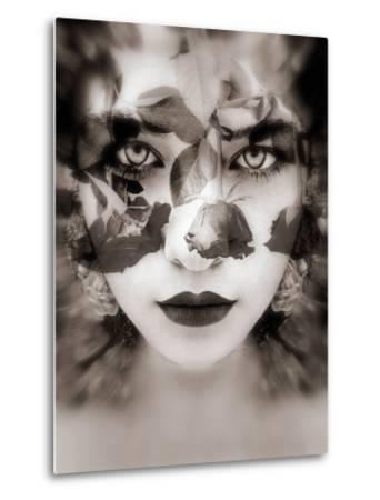 Portrait of a Woman with Roses in Sepia Monotonous Shades, Composing-Alaya Gadeh-Metal Print