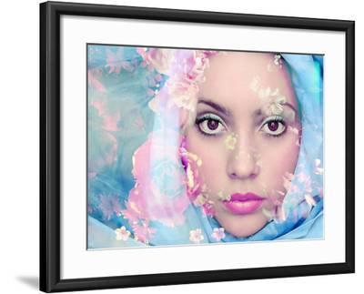 Portrait of a Woman with Flowers in Pastel Tones-Alaya Gadeh-Framed Photographic Print