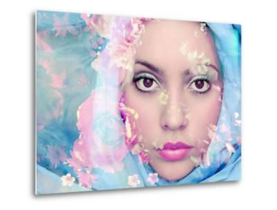 Portrait of a Woman with Flowers in Pastel Tones-Alaya Gadeh-Metal Print