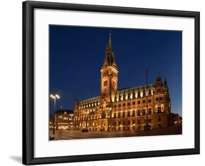 Hamburg, Panorama, City Hall Market, in the Evening-Catharina Lux-Framed Photographic Print