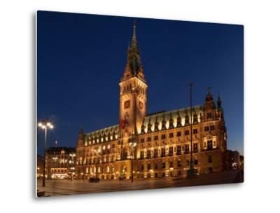 Hamburg, Panorama, City Hall Market, in the Evening-Catharina Lux-Metal Print