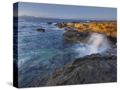 Sandstone Coast at Betlem, Del Llevant Peninsula, Majorca, Spain-Rainer Mirau-Stretched Canvas Print
