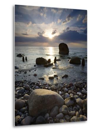 Erratic Blocks at Sunrise, National Park Jasmund, Island RŸgen, Mecklenburg-West Pomerania, Germany-Andreas Vitting-Metal Print