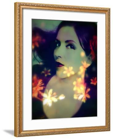 A Moody Evening Portrait of a Woman with Bright Flower Appearence-Alaya Gadeh-Framed Photographic Print